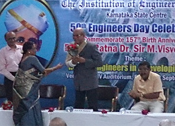 Dr. B N Karkera during the 50th Anniversary of Engineers Day at Institution of Engineers