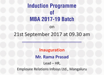 Induction Programme of MBA 2017-19 Batch