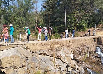 Survey camp for the students of 3rd year Civil Engineering underway at Siddapura