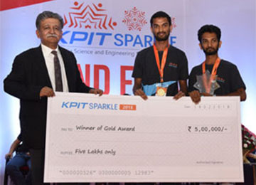 Sahyadrians win Gold Award for 'SMART HELMET' in KPIT Sparkle 2018 at Pimpri Chinchwad College of Engineering, Pune
