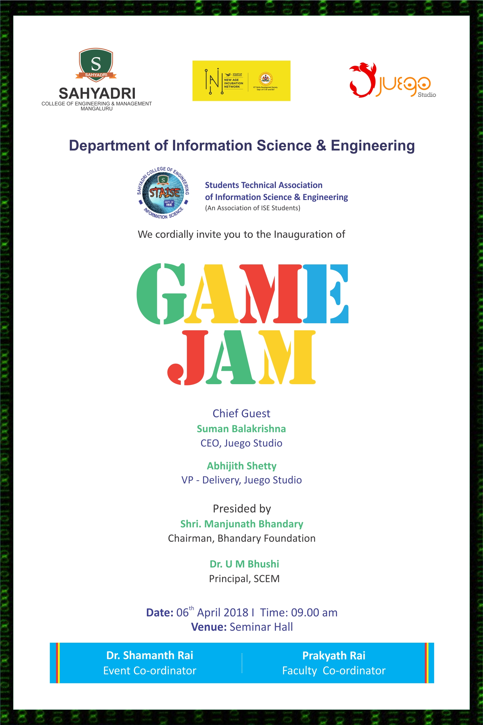 GAME JAM - A 24 Hour Hackathon from 6th April 9AM