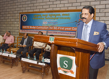 "VTU organizes a One-Day Workshop on ""AICTE Model Curriculum for BE-First Year Courses"" at Sahyadri"