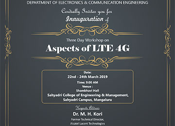 "Three-Day workshop on ""Aspects of LTE 4G"""