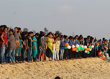 Sahyadri participates in Human Chain formation for voting awareness