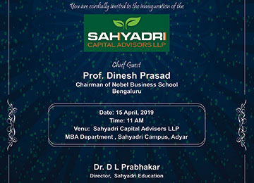 "Inauguration of the 1st MBA Start-Up ""Sahyadri Capital Advisors LLP"""