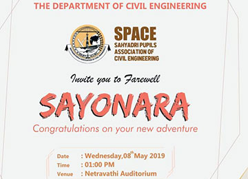 Department of Civil Engineering in association with SPACE bids farewell to final year students