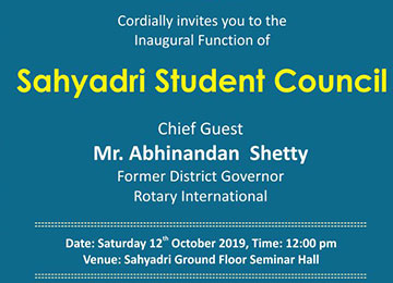 Inaugural Ceremony of Sahyadri Student Council 2019-20