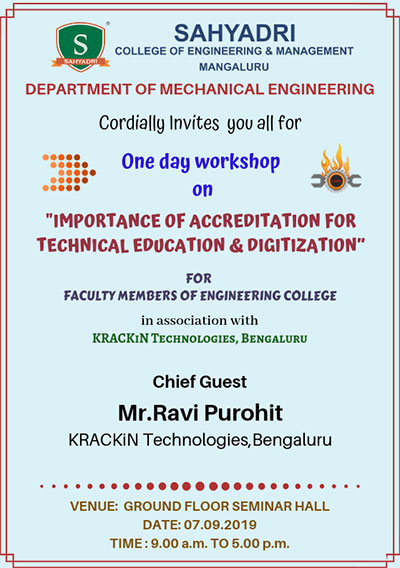 "One-day workshop on ""Importance of Accreditation for technical education and digitisation"""