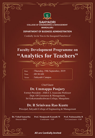 "One-Day Faculty Development Programme on ""Analytics for Teachers"""