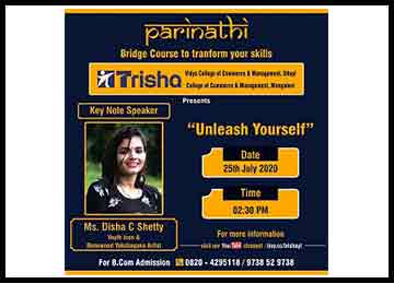 MBA Student delivers a Talk at 'Parinathi', a Webinar for students of Trisha Group of Institutions