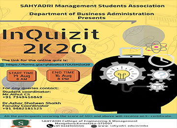 SMSA of the Dept. of Business Administration-MBA organized an Online 'InQuizit 2K20'